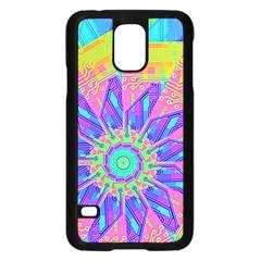 Neon Flower Purple Hot Pink Orange Samsung Galaxy S5 Case (black)