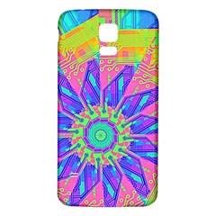 Neon Flower Purple Hot Pink Orange Samsung Galaxy S5 Back Case (white)