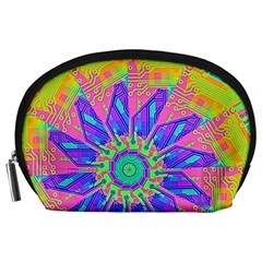Neon Flower Purple Hot Pink Orange Accessory Pouch (large)