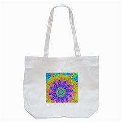 Neon Flower Purple Hot Pink Orange Tote Bag (White)