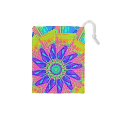 Neon Flower Purple Hot Pink Orange Drawstring Pouch (Small)