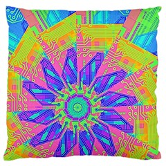 Neon Flower Purple Hot Pink Orange Large Flano Cushion Case (One Side)