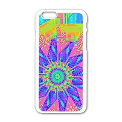 Neon Flower Purple Hot Pink Orange Apple Iphone 6 White Enamel Case