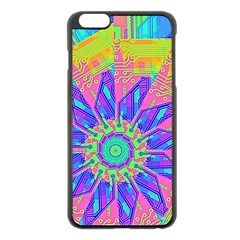 Neon Flower Purple Hot Pink Orange Apple iPhone 6 Plus Black Enamel Case