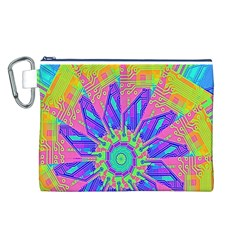 Neon Flower Purple Hot Pink Orange Canvas Cosmetic Bag (Large)