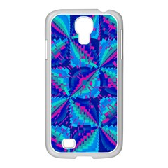 Hot Neon Pink Blue Triangles Samsung GALAXY S4 I9500/ I9505 Case (White)