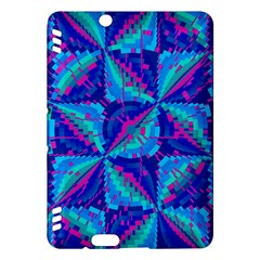 Hot Neon Pink Blue Triangles Kindle Fire HDX Hardshell Case