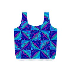 Hot Neon Pink Blue Triangles Reusable Bag (S)