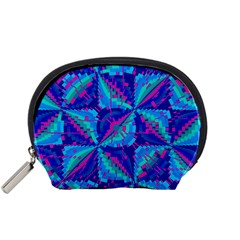 Hot Neon Pink Blue Triangles Accessory Pouch (Small)