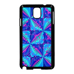 Hot Neon Pink Blue Triangles Samsung Galaxy Note 3 Neo Hardshell Case (Black)
