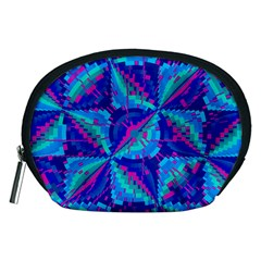 Hot Neon Pink Blue Triangles Accessory Pouch (Medium)
