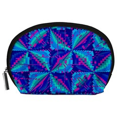 Hot Neon Pink Blue Triangles Accessory Pouch (Large)