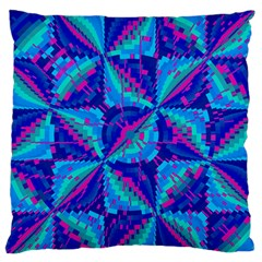 Hot Neon Pink Blue Triangles Large Flano Cushion Case (Two Sides)