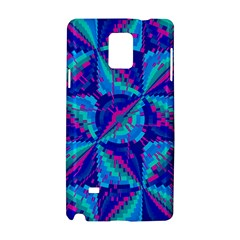 Hot Neon Pink Blue Triangles Samsung Galaxy Note 4 Hardshell Case