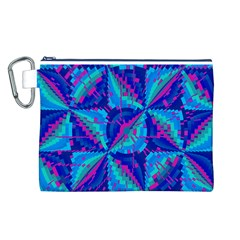 Hot Neon Pink Blue Triangles Canvas Cosmetic Bag (Large)