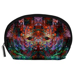 Colorful Abstract Modern Art Red Purple Accessory Pouch (Large)