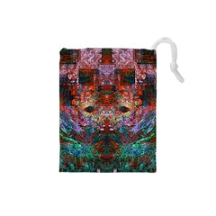 Colorful Abstract Modern Art Red Purple Drawstring Pouch (Small)