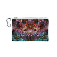 Colorful Abstract Modern Art Red Purple Canvas Cosmetic Bag (Small)
