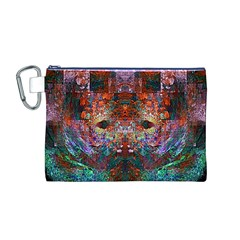 Colorful Abstract Modern Art Red Purple Canvas Cosmetic Bag (Medium)