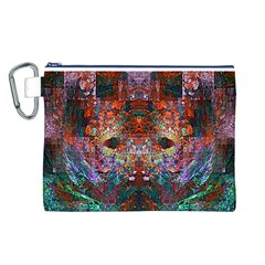 Colorful Abstract Modern Art Red Purple Canvas Cosmetic Bag (Large)