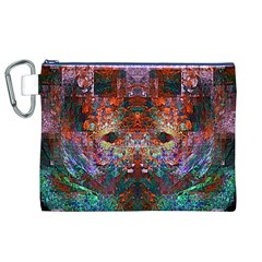 Colorful Abstract Modern Art Red Purple Canvas Cosmetic Bag (XL)