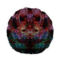 Colorful Abstract Modern Art Red Purple Standard 15  Premium Flano Round Cushion