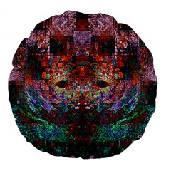 Colorful Abstract Modern Art Red Purple Large 18  Premium Flano Round Cushion