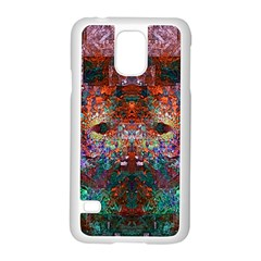 Colorful Abstract Modern Art Red Purple Samsung Galaxy S5 Case (White)