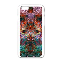 Colorful Abstract Modern Art Red Purple Apple iPhone 6/6S White Enamel Case
