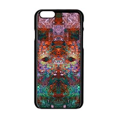 Colorful Abstract Modern Art Red Purple Apple iPhone 6/6S Black Enamel Case