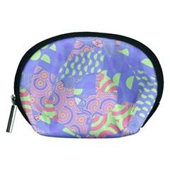 Girls Bright Pastel Summer Design Blue Pink Green Accessory Pouch (Medium)