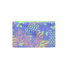 Girls Bright Pastel Summer Design Blue Pink Green Cosmetic Bag (XS)