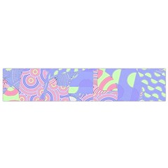 Girls Bright Pastel Summer Design Blue Pink Green Flano Scarf (Small)