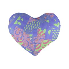 Girls Bright Pastel Summer Design Blue Pink Green Standard 16  Premium Flano Heart Shape Cushion