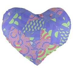 Girls Bright Pastel Summer Design Blue Pink Green Large 19  Premium Flano Heart Shape Cushion