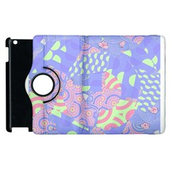 Girls Bright Pastel Abstract Blue Pink Green Apple iPad 2 Flip 360 Case