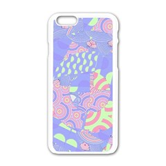 Girls Bright Pastel Abstract Blue Pink Green Apple Iphone 6/6s White Enamel Case