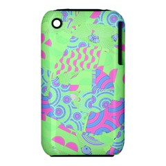 Tropical Neon Green Purple Blue Apple iPhone 3G/3GS Hardshell Case (PC+Silicone)