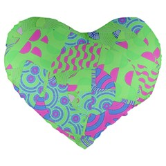 Tropical Neon Green Purple Blue Large 19  Premium Heart Shape Cushion