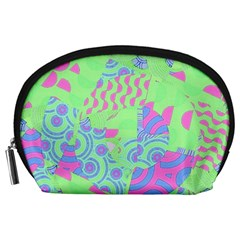 Tropical Neon Green Purple Blue Accessory Pouch (Large)