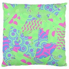 Tropical Neon Green Purple Blue Standard Flano Cushion Case (one Side)