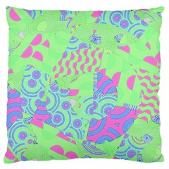 Tropical Neon Green Purple Blue Large Flano Cushion Case (Two Sides)