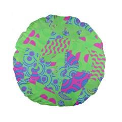 Tropical Neon Green Purple Blue Standard 15  Premium Flano Round Cushion