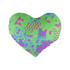 Tropical Neon Green Purple Blue Standard 16  Premium Flano Heart Shape Cushion