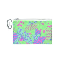 Tropical Neon Green Purple Blue Canvas Cosmetic Bag (Small)