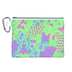 Tropical Neon Green Purple Blue Canvas Cosmetic Bag (Large)