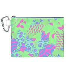 Tropical Neon Green Purple Blue Canvas Cosmetic Bag (xl)
