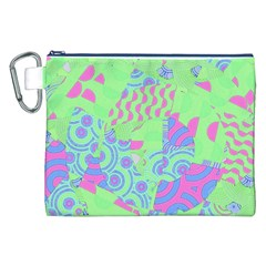 Tropical Neon Green Purple Blue Canvas Cosmetic Bag (XXL)
