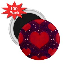 Galaxy Hearts Grunge Style Pattern 2 25  Button Magnet (100 Pack)