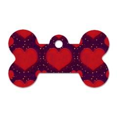 Galaxy Hearts Grunge Style Pattern Dog Tag Bone (Two Sided)